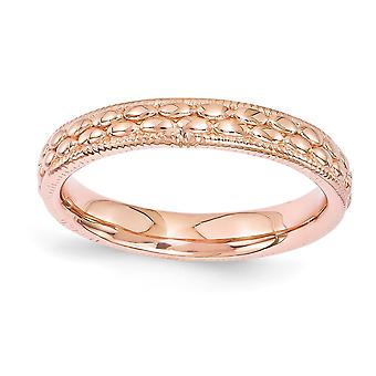3.5mm 925 Sterling Silver Polished Stackable Expressions Rose 14k Gold Plated Patterned Ring Jewelry Gifts for Women - R