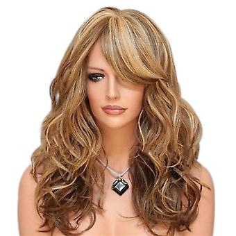 TRIXES Brown longa loira destaques peruca – Curly caramelo estilo Fashion e tema Fancy Dress up – malha de rede