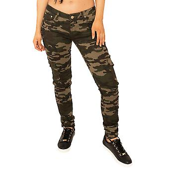 Low Rise Camouflage Slim Combat Trousers