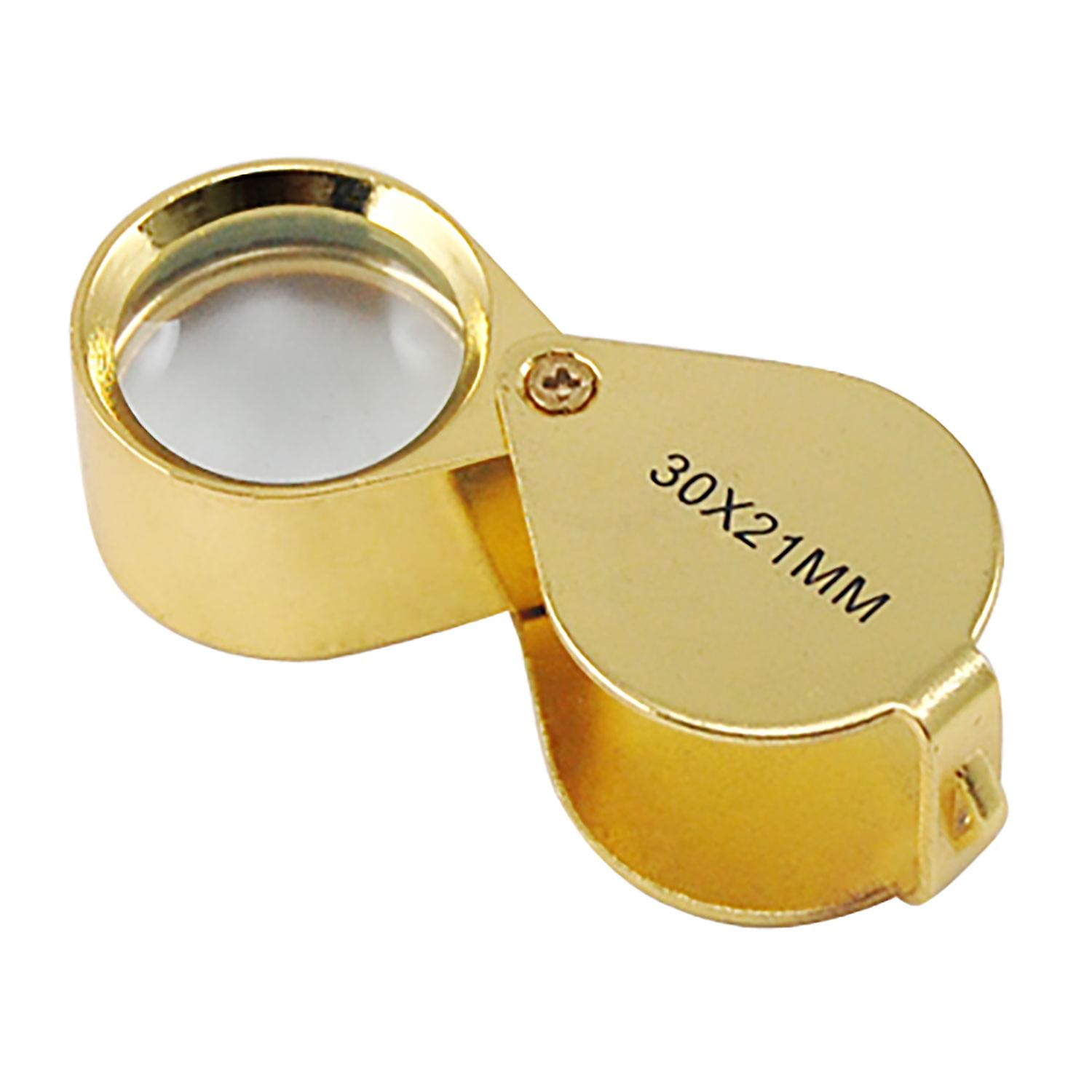 TRIXES Gold Pocket Magnifier 30x Magnification Loupe Glass Magnifier Eye Lens