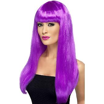 Long Purple Straight Wig, Babelicious Wig With Fringe, Fancy Dress Accessory
