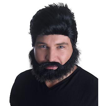 Euro Pop stjerne paryk + skæg sæt