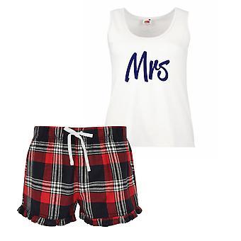 Onorevole signore Tartan Frill pigiama corto Set rosso blu o verde blu