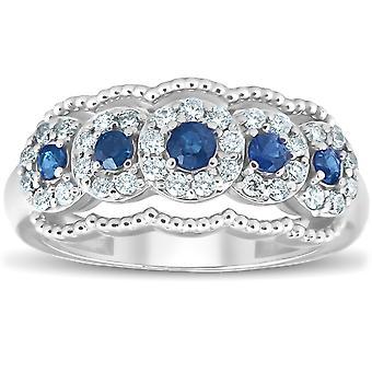 1ct blå safir & Diamond Vintage Anniversary Ring 14K vitt guld
