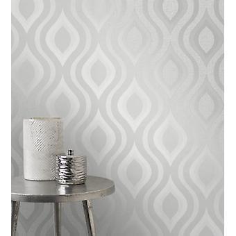Elegante kvarts Geo sølv tapet vegg dekor 0.52 x 10.05 m