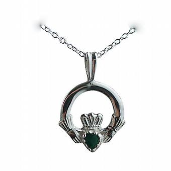 Silver 20x15mm Green Agate set Claddagh Pendant with a rolo Chain 24 inches