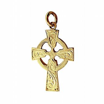 9ct Gold 28x20mm hand engraved Celtic Cross