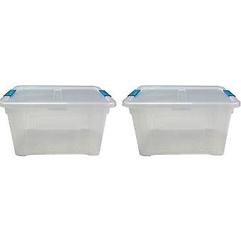 2 x 32 Litre Storage Box And Lid With Clips Storage Furniture