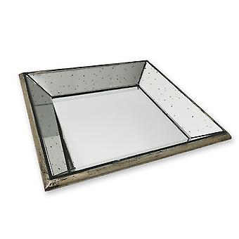 Hill Interiors Astor Distressed Mirrored Square Tray