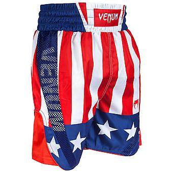 Venum Mens Elite Boxing Trunks Polyester Drawstring Shorts - Red/White/Blue