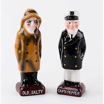 Oude zoute en schepen kapitein zout en peper shaker set
