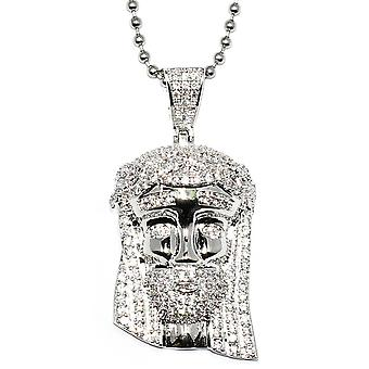 Silver Mini Jesus Piece with Crystal Detail and 30 inch ball chain
