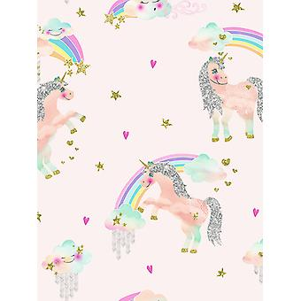 Rainbow Unicorn Glitter Wallpaper Arthouse