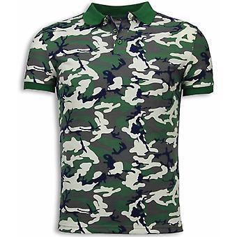 Camo Polo Shirt-Neon Camouflage Polo Shirt-Beige/Green