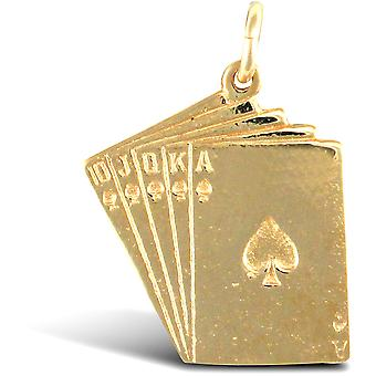Jewelco London Solid 9ct Yellow Gold Ace of Spades Royal Flush Poker Charm Pendant