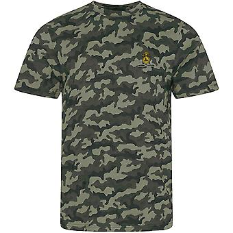 Lancashire Fusiliers-licensierad brittisk armé broderad kamouflage tryck T-shirt