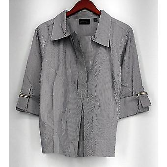 Elisabeth Hasselbeck Top 3/4 Sleeve Striped Tunic White/ Gray