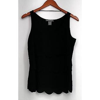 Kate & Mallory Top Tank w/ Tiered Scallop Layers Black Womens A417046