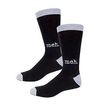 Socks - Archie McPhee - Meh Black and Gray Men's New 12803