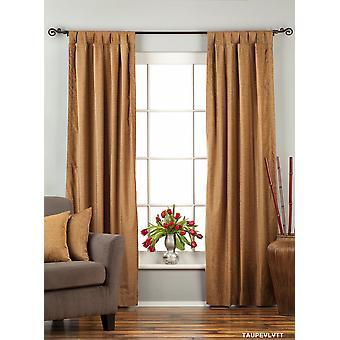 Taupe Tab Top  Velvet Curtain / Drape / Panel  - Piece