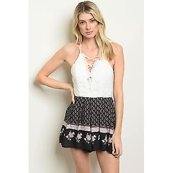 Womens white black floral romper
