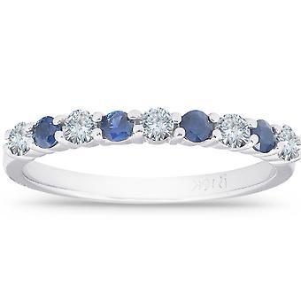 1 / 2CT & safira azul do anel de noivado de diamante ouro branco 10K