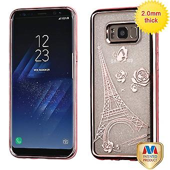 MYBAT Rose Gold Electroplating/Eiffel Tower Sheer Glitter Premium Candy Skin Cover  for Galaxy S8 Plus