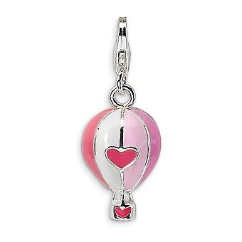925 Sterling Silver Solid Rhodium plated Fancy Lobster Closure 3 D Enameled Hot Air Balloon With Lobster Clasp Charm Pen