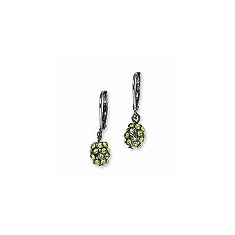Svart plätering svart pläterad grön kristall Fireball Leverback Örhängen Smycken Gåvor för kvinnor
