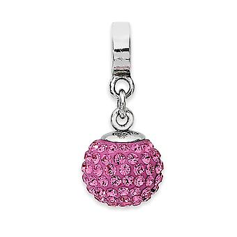 925 Sterling Silver Polished Reflections Oct Crystal Ball Dangle Bead Charm Pendant Necklace Jewelry Gifts for Women