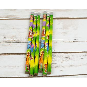 6 Wild Animal Pencils for Kids Jungle Party Bags
