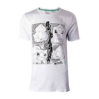Pokemon T Shirt Manga Bulbasaur Logo nouveau officiel Mens White