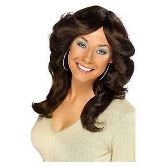 Naisten ruskea 70s leffa peruukki naamiaispuku lisävaruste