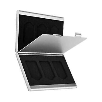 6 in 1 aluminium metal game card holder travel case storage wallet for sony ps vita - silver
