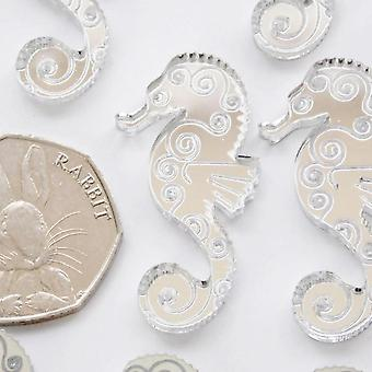 Seahorse Pattern Engraved Mini Craft Sized Acrylic Mirrors (10Pk)