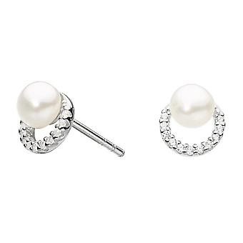 Dew Silver Cubic Zirconia Half Round With Freshwater Pearl Studs 3726FP021