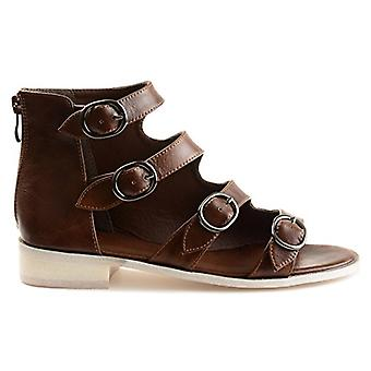 Brinley Co. Womens Odell Faux Leather High-top Distressed Side Buckle Sandals