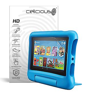 Celicious Vivid Invisible Glossy HD Screen Protector Film Compatible with Amazon Fire 7 Kids Edition (2019) [Pack of 2]