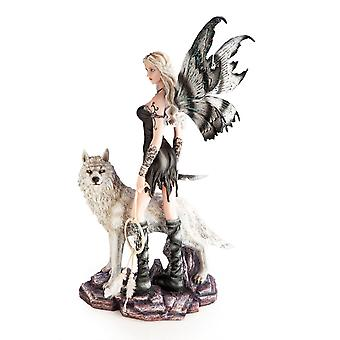 Black Fairy With Wolf