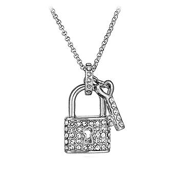 Vincenza crystal lock & key pendant necklace made with swarovski elements