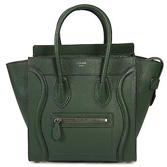 Celine Micro Luggage Tote Bag in Green Baby Drummed Calfskin Leather