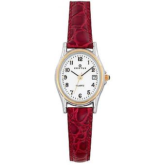 Sjekk Certus 645325-Dateur bo tier stål armbånd rødt skinn kvinner