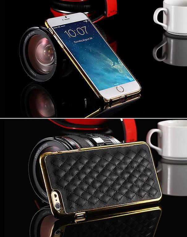 Exklusivt Iphone 6S 6 skal läder mönstrad baksida Svart