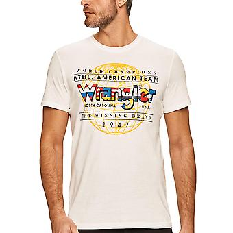 Wrangler Mens SS Athletic Cotton Short Sleeve Crew Neck T-Shirt Tee Top - Branco