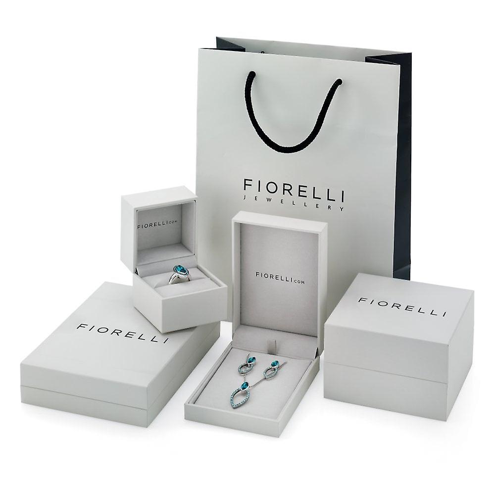 Fiorelli Silver & Blue Cz Irregular Swing Hoop Earrings