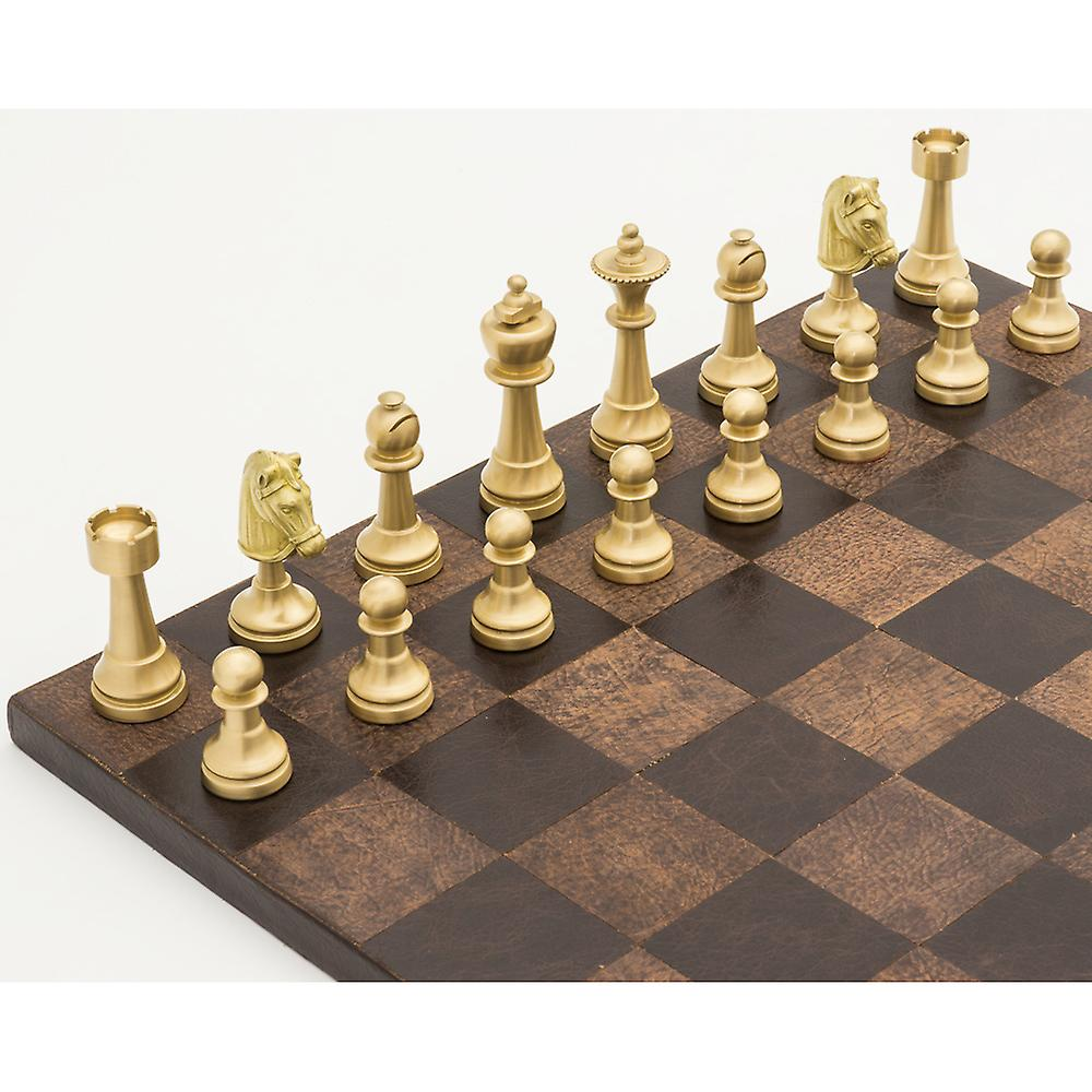 The Turin Ancona Brass and Leather Luxury Chess Set by Italfama