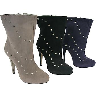 Rascal Faux Suede Diamond Stud Ankle Boots
