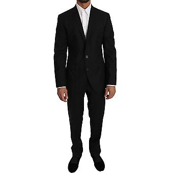 Dolce & Gabbana Black Wool Silk 2 Piece Slim Fit Suit