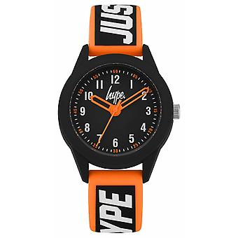 Hype | Orange/Black Silicone Strap | Black Dial | HYK004OB Watch