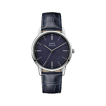 Jack Wills Watches Jw011blss Silver & Navy Blue Textured Leather Mens Watch